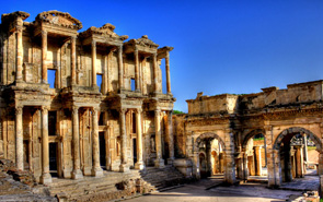 Celsus Library at ancient city of Ephesus in Turkey